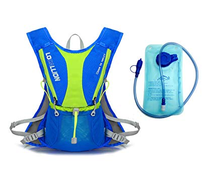 Hydration Pack with 1L Water Bladder. Local Lion Outdoors 5L Lightweight hydration bladder backpack for Hiking Cycling Running