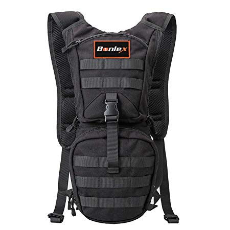 Hydration Pack Tactical Water Hiking Backpack - BONLEX Hight Quality CORDURA Fabric Hiking Daypack including 3L BPA free Hydration Bladder,Heavy Duty,Light Weight,for Outdoor Sports 2Years Warranty