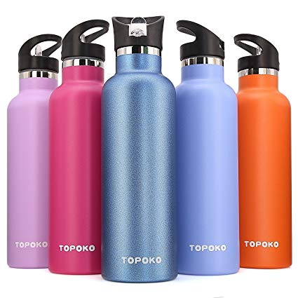 TOPOKO 25 OZ Double Wall Stainless Steel Water Bottle, Straw Lid with Handle or Bite Valve Top, Vacuum Insulated, Sweat Proof, Leak Proof Thermos Standard Mouth.
