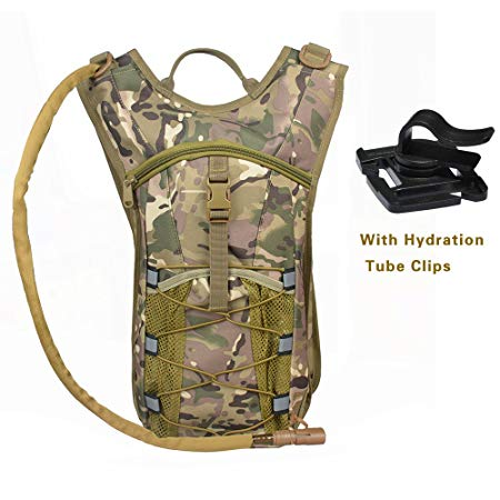 Kenny Walker Camouflage Tactical Hydration Pack Military 2.5L Camel Army Backpack Tasteless Bag Water Bladder Assault Insulation Waterproof Bottle Pouch for Cycling Travel Hiking Mochila Bag